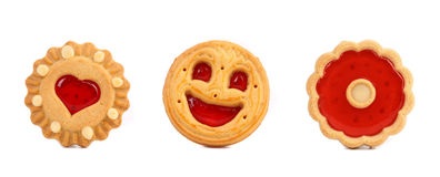 Thre different cookies with jam in row. Stock Photography