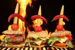 Thre Homemade Cheeseburger Close-up On Flaming Barbecue Grill Ba Stock Image