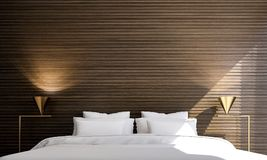 The interiors design idea of minimal bedroom and concrete wall and cityscape view and wood wall. Thre modern bedroom interior design concept decoration Royalty Free Stock Photography