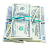 Thre piles of dollars money Stock Photos