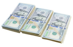 Thre piles of dollars money Royalty Free Stock Images