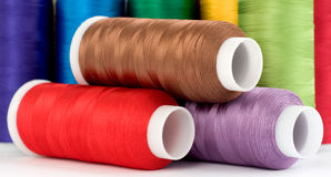Thread. Hanks of multi-coloured threads for embroidery on a white background Stock Photography