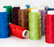Thread. Hanks of multi-coloured threads for embroidery on a white background Royalty Free Stock Photography