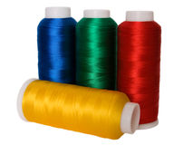 Thread. Hanks of multi-coloured threads for embroidery on a white background Stock Images