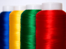 Thread. Hanks of multi-coloured threads for embroidery on a white background Stock Image