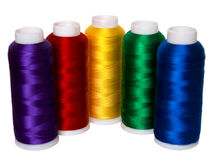 Thread. Hanks of multi-coloured threads for embroidery on a white background Stock Photos