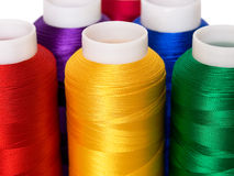 Thread. Hanks of multi-coloured threads for embroidery on a white background Royalty Free Stock Photos