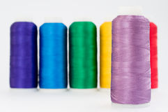 Thread. Hanks of multi-coloured threads for embroidery on a white background Royalty Free Stock Images