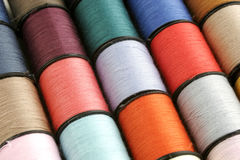 Thread Background. Close-Up of Colorful Spools of Thread royalty free stock image