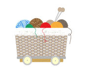 Thread balls of yarn with spokes basket Royalty Free Stock Photos