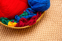 Thread in a basket and thread balls Royalty Free Stock Image