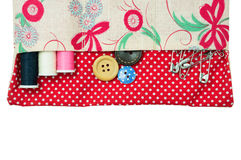 Thread and button in sewing kit bag Royalty Free Stock Image