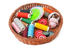 Thread and buttons in a basket Stock Photography