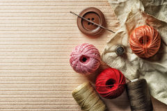 Thread buttons and other sewing items Stock Photos