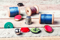 Thread and buttons Royalty Free Stock Photo