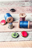 Thread and buttons Stock Photo