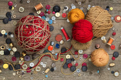 Thread, buttons and yarns Stock Image