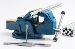 Thread cutting with a vise and taps Royalty Free Stock Photos