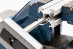 Thread cutting with a vise and taps Royalty Free Stock Photo