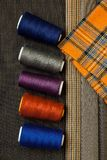 Thread fabric wool sewing man cage blue choice design atelier ta royalty free stock image