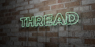 THREAD - Glowing Neon Sign on stonework wall - 3D rendered royalty free stock illustration Royalty Free Stock Images