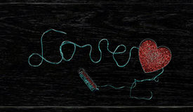Thread inscription `love stock images