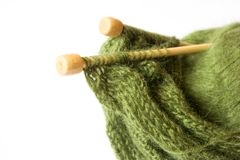 Thread and knitting needle Stock Images