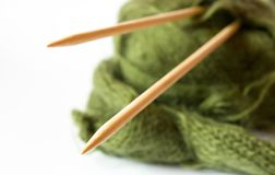 Thread and knitting needle Royalty Free Stock Images