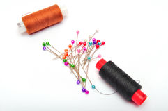 Thread and a lot of needles Royalty Free Stock Photo