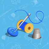 Thread with a needle, seamless, sewing items Royalty Free Stock Image