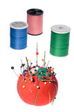 Thread and needles and pin cushion royalty free stock photos