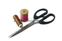 Thread, needles and scissors. Set for sewing - thread, needles and scissors Royalty Free Stock Images