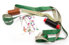 Thread, needles and tape for sewing set Royalty Free Stock Image