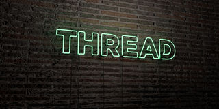 THREAD -Realistic Neon Sign on Brick Wall background - 3D rendered royalty free stock image Stock Images
