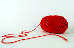 Thread. Red wool needlework hobby stock photos