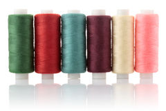 Thread on reel coloured. On white background Royalty Free Stock Image