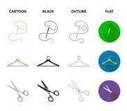 Thread, reel, hanger, needle, scissors.Atelier set collection icons in cartoon,black,outline,flat style vector symbol. Stock illustration vector illustration