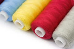 Thread reels. Colorful thread reels on white background Royalty Free Stock Photo