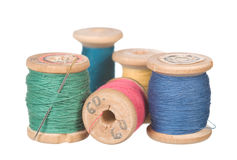 Thread reels. Vintage thread reels isolated on white Royalty Free Stock Photo