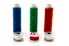 Thread rolls with coils Royalty Free Stock Images
