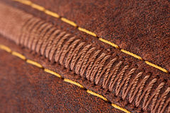 Thread seam on leather Royalty Free Stock Image
