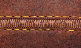 Thread seam on leather Stock Photo