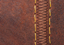 Thread seam on leather Royalty Free Stock Photo