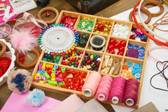 Thread and sewing accessories top view, seamstress workplace, many object for needlework, embroidery, handmade and handicraft Royalty Free Stock Images