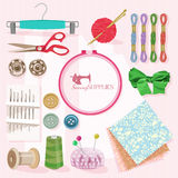 Thread for sewing in vintage style Royalty Free Stock Image