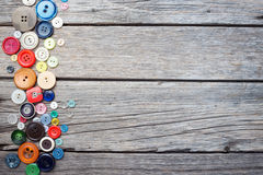 Thread and sewing. On wooden boards Stock Images