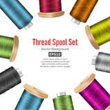 Thread Spool Banner Circle Border. Place For Text. Stock Vector Illustration Of Yarn Or Cotton Bobbin Reel. Isolated  Royalty Free Stock Photos