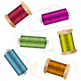 Thread Spool Set Background. For Needlework And Needlecraft. Stock Vector Illustration Of Yarn Or Cotton Bobbin Reels Royalty Free Stock Image