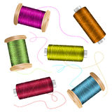 Thread Spool Set Background. For Needlework And Needlecraft. Stock Vector Illustration Of Yarn Or Cotton Bobbin Reels Royalty Free Stock Images