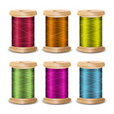 Thread Spool Set. Bright Old Wooden   Bobbin. Isolated On White Background For Needlework And Needlecraft. Stock. Thread Spool Set. Bright Old Wooden Thread Royalty Free Stock Photos